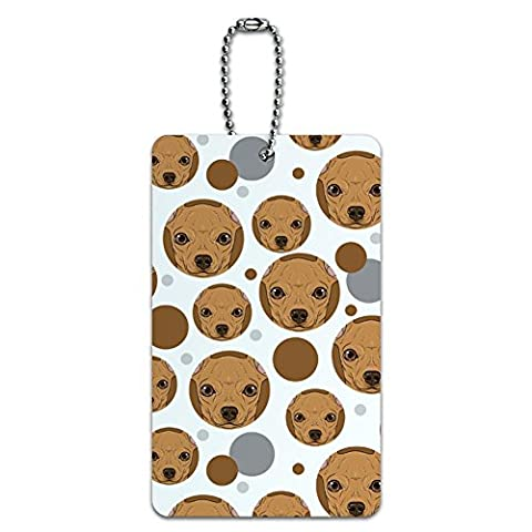 Luggage Card Suitcase Carry-On ID Tag - Dog Puppy - Chihuahua Face Close up