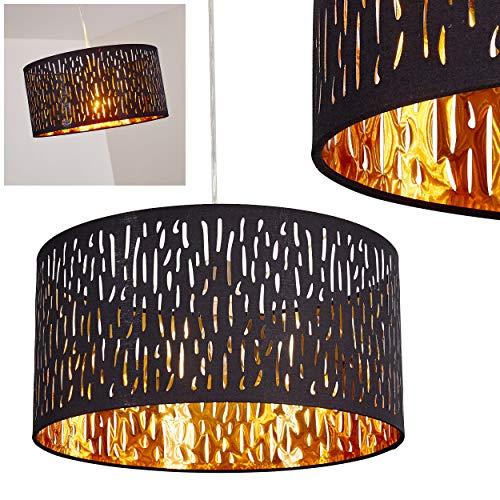 Pendelleuchte Liared, moderne Hängelampe aus Kunststoff/Samt in Schwarz/Gold, Ø 40 cm, Höhe 140 cm, E27 max. 60 Watt, geeignet für LED Leuchtmittel -
