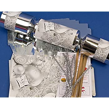 Make your own silver christmas crackers pack of 6 amazon 8 jumbo silver foil christmas make fill your own party crackers craft kit solutioingenieria Images