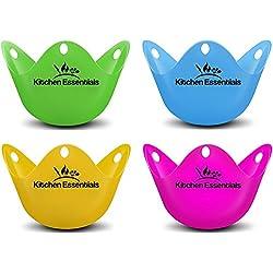 Cuiseur vapeur œufs pochés (lot de 4) - Tasses Premium de couleur matte, œufs pochés, sans BPA silicone poach pods - Ensemble de pocheuses pour œufs pochés au pot, à la poêle et au micro-ondes