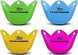 Eier Dampfgarer (4Pack)-PREMIUM pochiert Ei Eiko, matt Tassen, BPA frei Silikon Wildern Pods-New pochiert Ei Maker Set für Topf, Pfanne, Mikrowelle, und perfekte pochiert Eier
