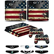 Skins Stickers for PS4 Slim Controller - Decals for Playstation 4 Slim Games - Cover for PS4 Slim Console Sony Playstation Four Accessories with Dualshock 4 Two Controllers Skin - Battle N Strips