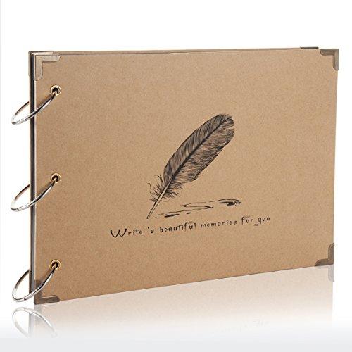 Flylther 30 Blätter/60 Seiten DIY Fotohüllen für Mini 8 8+ 9 70 7s 25 26 50 90/Mobiler Fotodrucker Film - Feder(Schwarz Papier)