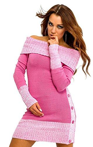 Glamour Empire Damen Stretch Carmen-pullover Tunika Grobstrick Strickkleid. 415 (Rosa, 38/40)