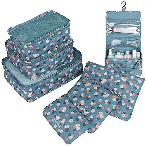 GCBTECH Set de 7 Organizadores de viajes cubo de viaje Bolsas de compresión de equipaje, Viajar Bolsas de aseo, bolsa de cosmético del maquillaje portable - Flores azules