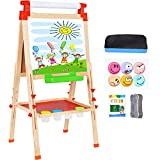Wesimplelife Kids Art Easel Wooden Easel Double Sided Green and White Board 3