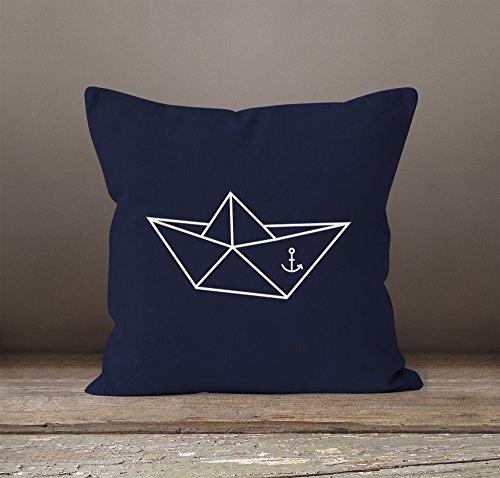 Kissenbezug Origami Schiffchen Schiff Anker Seemann Kissen-Hülle 40x40 Baumwolle Moonworks® navy 40cm x 40cm -