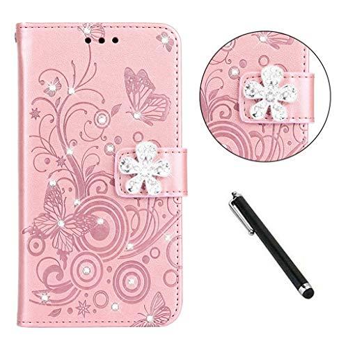 Beddouuk Glitzer Hülle for Huawei P30 Pro,Premium PU Leder Flipcase Brieftasche Schutzhülle [Standfunktion][Kartenfach][Bling Buckle] Bumper Soft TPU Cover-Silber
