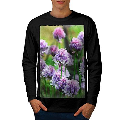 Klee Blume Wild Natur Natur Herren M Langarm-T-Shirt | Wellcoda (Klee Licht-t-shirt)