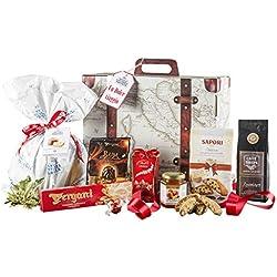 Cesta Navideña Gourmet - Cesta de Regalo con Panettone Italianos, Chocolate y Productos típicos de Navidad - Dolce Viaggio