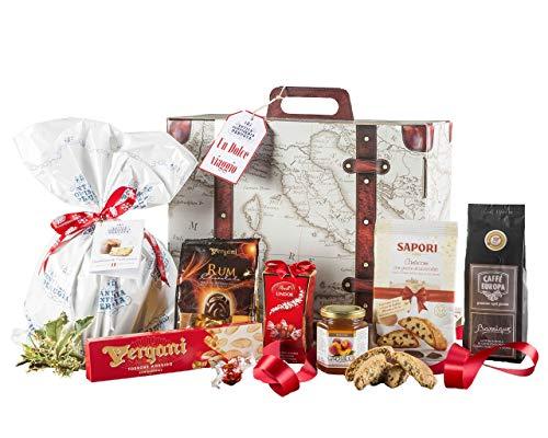 Dolce viaggio - cesto natalizio con panettone artigianale, cioccolato e prodotti tipici di natale
