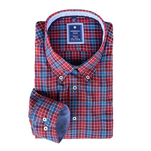 Übergrößen Langarmhemd von Redmond rot-blau kariert Mehrfarbig
