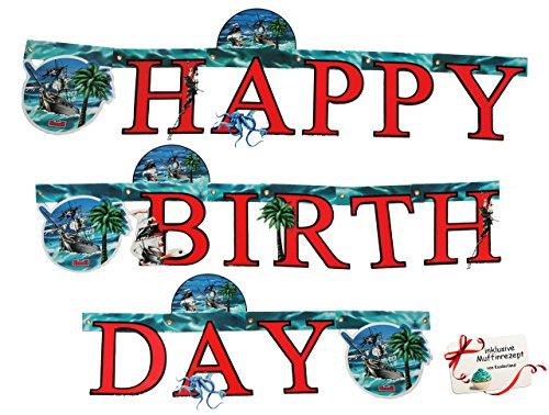 """Preisvergleich Produktbild 1, 8 m Girlande - Piratenschiff & Pirat - Scout """" Happy Birthday """" - Geburtstagsgirlande Party - für Kinder - Schatzsuche Pirat Piratenparty - Jungen - Geburtstagsgirlande Kindergeburtstag - Buchstabengirlande"""