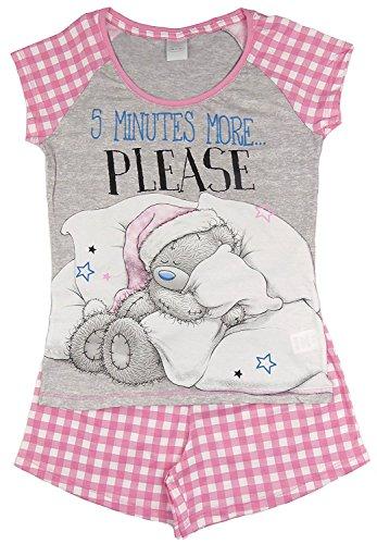 Character Clothing Damen Mädchen NEUHEIT kurzes Höschen Shorts Pyjama Ariel wonder woman BatGirl Minnie Elch taty Teddy Eeyore 8-22 - taty Teddy 5 Minuten pink, UK 8-10