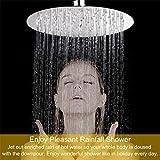 RUNTH Regendusche Kopfbrause Duschkopf Spiegeleffekt Hochglänzend Regenbrause Einbau-Duschkopf Mit Anti-Kalk-Düsen Ultra Slim Design Rund Größe: 30 cm / 12 Zoll Edelstahl, Poliert, Schwenkbar