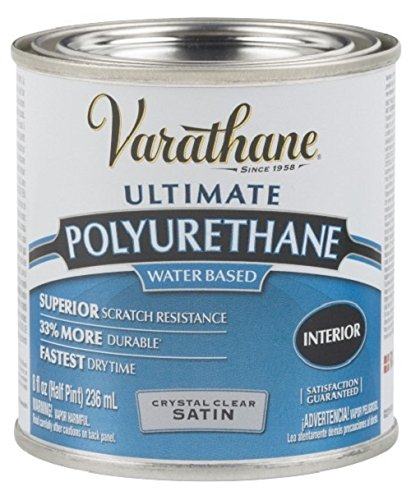 Rust-Oleum Varathane 200261H 1/2-Pint Interior Crystal Clear Water-Based Polyurethane, Water-Based Satin Finish by Rust-Oleum -