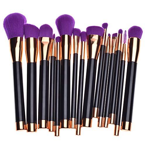 GODGETS Make-up Pinsel 15 Stück Pro Make-up Pinsel Set mit Tasche & Natural Hair (Foundation Pinsel, Puderpinsel, Lidschatten Pinsel) Am besten für Reisen & Geschenke,Lila,15 Stück(260g)