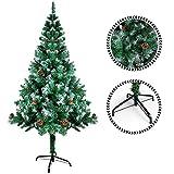 Sunjas Weihnachtsbaum, 120/150/180/210 cm Grün, künstlicher Tannenbaum, schwer entflammbar und Kunsttanne mit Metallständer, hochwertiger Christmas Tree (Mit Schnee 120cm)