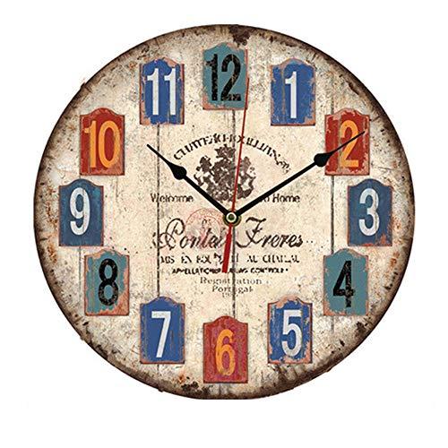 vientiane Reloj de Pared de Madera de la Vendimia,30cm Reloj Numérico Grande de Madera Retro,Silencioso No Tick Tack Ruido Reloj de Pared para No Ruidos,Cocina, Decoración de la Sala de Estar (B)