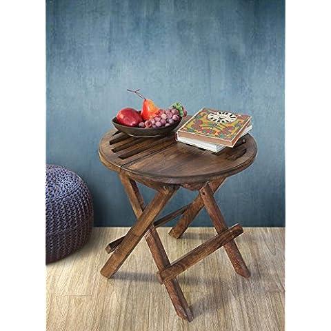Store Indya, Vintage Style legno rotonda ottomano Tavolino pieghevole laterale Fine Sofa Table Stand Portable Soggiorno Mobili per la casa D?cor