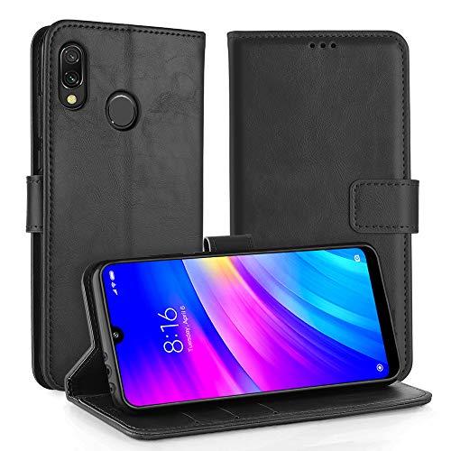 Simpeak Funda Compatible con Xiaomi Redmi 7 Funda Cuero Negro (6.26''/2019), Funda Libro Compatible con Redmi 7 Soporte Plegable/Ranuras Tarjetas y Billetes/Acceso a Botones-Negro