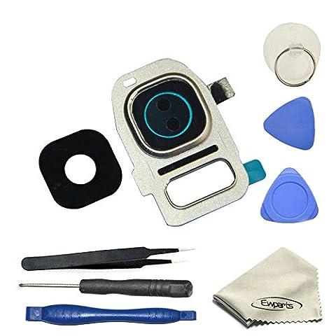 EWPARTS for Samsung galaxy S7 / S7 edge Kamera Objektiv Abdeckung Ringe Glas + Aufklebers + Werkzeuge + Reinigungstuch, S7 Edge Hintere Camera Glas (Silber)