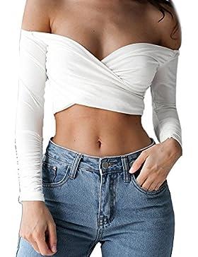 SKY Especially !!Mujer delgada tapas delgadas Off Shoulder Top Long Sleeve Crop Blouse