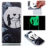 Coque Samsung Galaxy Note 8, BONROY® Samsung Galaxy Note 8 Housse Luminous Effect Noctilucent Green Glow in the Dark Ultra Mince Souple Gel TPU Bumper Poussiere Resistance Anti-Scratch Coque Housse Pour Samsung Galaxy Note 8 - Couple de lune