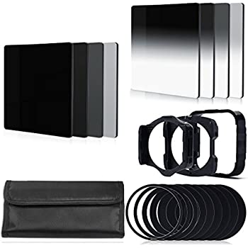 BPS 17pcs Filter Set:Full ND Filter Set (ND2 ND4 ND8) + Graduated ND Filter (G.ND2 G.ND4 G.ND8) + 9pcs Ring Adapter (49mm 52mm 55mm 58mm 62mm 67mm 72mm 77mm 82mm) + Filter Holder + Lens Hood + Filter Case for cokin p series for Canon, Nikon, Sony LF6