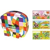 Vilac Vilac5900 3 Puzzles in Elmer Shape Box, Multicoloured