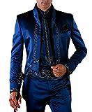 Suit Me Uomo Retro Long 2 pezzi Suit Stand-Up Collare Ricamo Tuxedos Giacche, Pantaloni blu M
