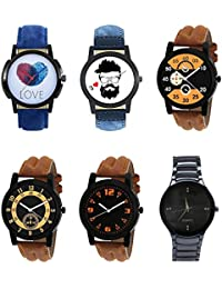 NEUTRON New Fashion Love Beard Style Black Blue And Brown Color 6 Watch Combo (B11-B12-B13-B14-B15-B67) For Boys...