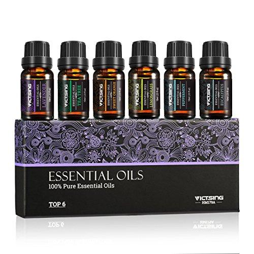 VicTsing Ätherische Öle Set, Top 6 Flaschen 10ml/33fl oz Jeder für Diffusor, 100% Pur Aromatherapie Duftöl, therapeutische Wirkung höchste Qualität Geschenk (6 Stück) (Süß Aromatherapie)