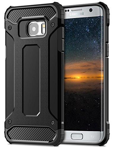Coolden Galaxy S7 Edge Hülle, Premium [Armor Serie] Outdoor Stoßfest Handyhülle Silikon TPU + PC Bumper Cover Doppelschichter Schutz Hülle für Samsung Galaxy S7 Edge (Schwarz)