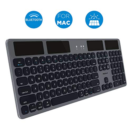 , erweiterte Bluetooth Tastatur, US Layout, Space Grey, 100% drahtlos, 100% Solar ()