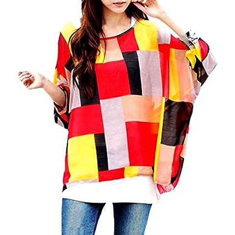 Blusa de talle ancho hecho de gasa y con estampado de geométrico rojo 003 – Moda femenina para la mujer mws1823