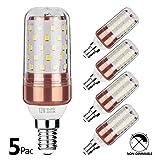 Gezee LED Mais Glühbirne E14 12W 100W Entspricht Glühbirnen Nicht dimmbar 6000K Kaltweiß 1200lm Kleine Edison-Schraube Kerze Leuchtmittel (5er-Pack)