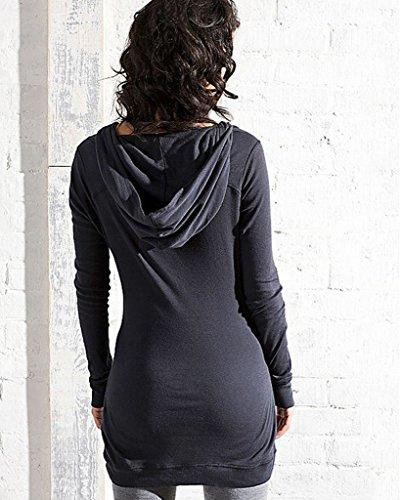 Minetom Damen Herbst Kapuzenpullis Slim Hoodies Lange Ärmel Mantel Neue Europäischen Stil Kapuzenpullover Schwarz