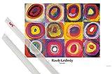1art1 Poster + Hanger: Wassily Kandinsky Poster (91x61 cm) Farbstudie, Quadrate Mit Konzentrischen Ringen, 1913 Inklusive EIN Paar Posterleisten, Transparent