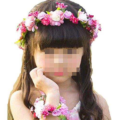 JYJHL Kranz Handgelenk Blume Kleines Blumenmädchen Kopfbedeckungen Kind Tanz Leistung Prinzessin...