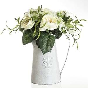 Composizione di fiori artificiali bianche-rose-Brocca in zinco