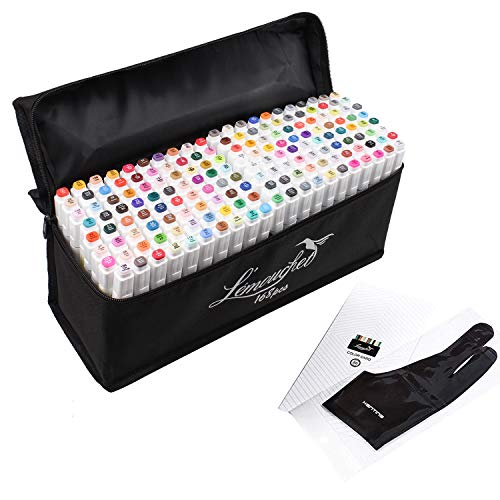 L'émouchet Dual Tips Art Animation Twin Marker Pens with Carrying Case for Art Sketch Coloring Painting Highlighting Underlining Render Manga and Design, Set of 168 Colors
