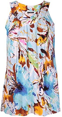 Damen Top mit Tier/Blumenmuster, ärmellos, gerüscht Braun & Weiß