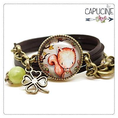 Bracelet kaki avec cabochon verre motif écureuil - breloques, trèfle, bronze - multi-rangs - cadeau, noël, saint valentin, fête des mères
