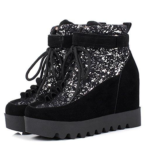 Bout UH Hauts Femmes Noir Compensees Conforts de et à Lacet Brillant Talons Rond Cheville a Bottines Chaussures fqP0qg