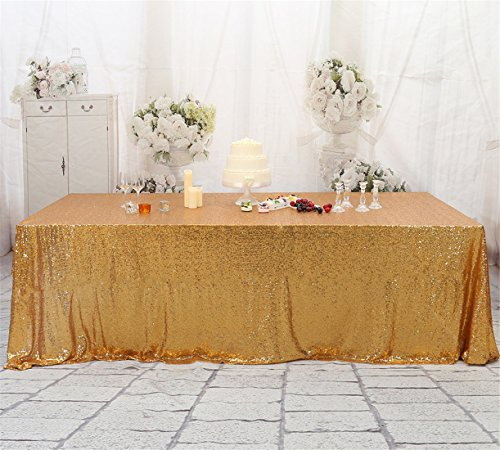 3E Home 230x395cm(90×156 inches) Light Gold Sequin Tablecloth Rectangle Table Cover Wedding Party Banquet