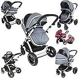 i-Safe System - Grey Trio Travel System Pram & Luxury Stroller 3 in