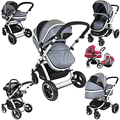 i-Safe System - Grey Trio Travel System Pram & Luxury Stroller 3 in 1 Complete with Car Seat + Rain Covers  iSafe