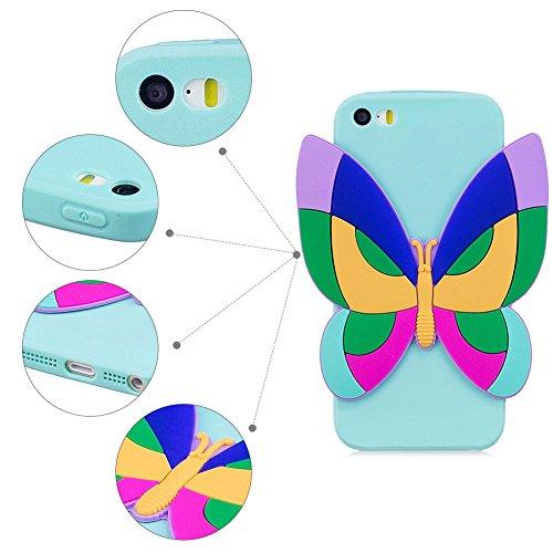 Cover iPhone 5S Spiritsun Case iPhone 5 Custodia iPhone SE Moda Ultraslim 3D Kawaii Diy Soft TPU Case Handy Cover High Quality Case Elegante Souple Flessibile Liscio Copertura Perfetta Protezione Shel Farfalla blu
