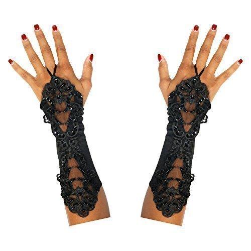 Handschuhe Steampunk Goth Tag der Toten Halloween Braut (Tote Braut Halloween-kostüm Schwarz)